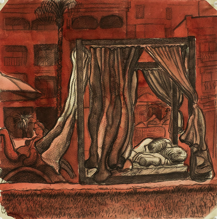 Marrakech Suite - Medina Gardens, 5-6-16 Crayon and watercolour on paper. Simon Page