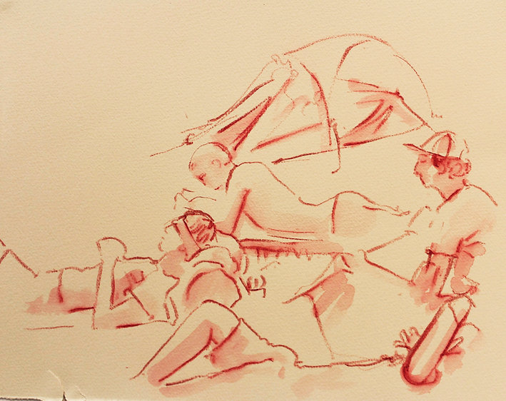 A Harrow Journey - Altier evening 29-6-12.Crayon and wash on paper. Simon Page