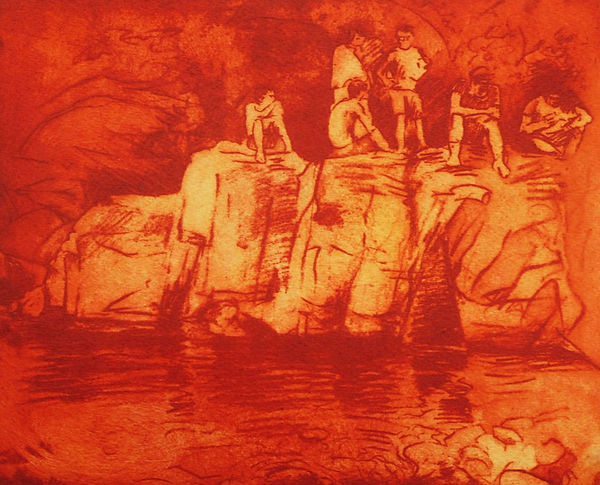 A Harrow Journey - Bathers II, At the Plunge Pool. Solar Etching, 2011. Simon Page