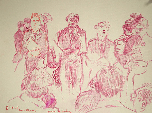 A Harrow Journey - Remembrance Sunday, War Memorial, an evening of music and readings, 8-11-15. Crayon on paper. Simon Page