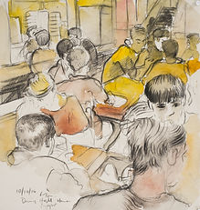 A Harrow Journey - Evening supper, CDH, 6-7pm, 10-10-14. Crayon and watercolour on paper. Simon Page