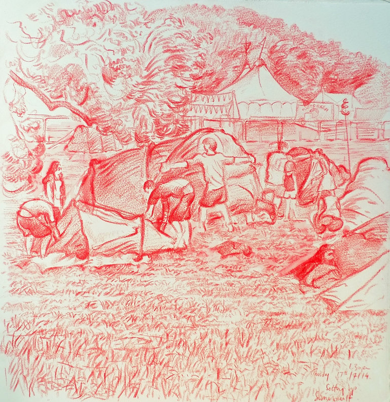 17-7-14, 1.30pm, Setting Up, Somersault Festival. Crayon on paper. Simon Page