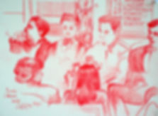 A Harrow Journey - Leavers' ceremony, Druries, June 2014. Crayon on paper. Simon Page