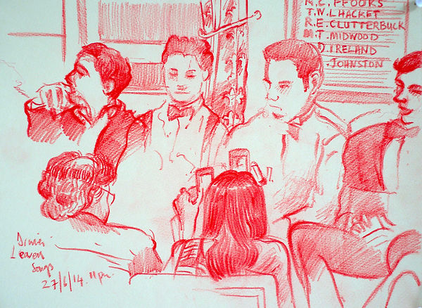 A Harrow Journey - Leavers' ceremony, Druries, 27-6-14. Crayon on paper. Simon Page