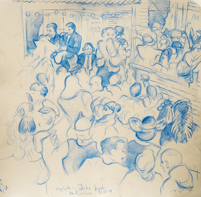 Festival drawings- Very late at The Juke Joint, Cornbury Park, Wilderness Festival, 8-8-14 Crayon and wash on paper. Simon Page
