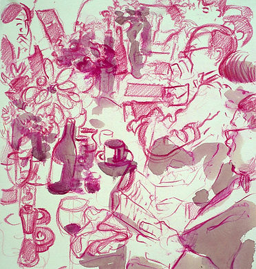 A Harrow Journey - Rendalls Finds Dinner, June 2015. Crayon and wash on paper. Simon Page