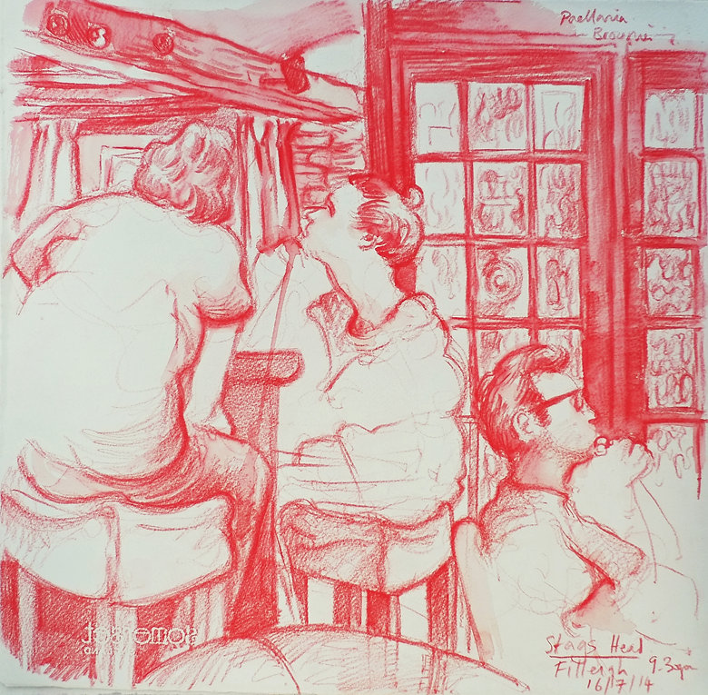 16-7-14. 9.30pm, The Stags Head, Filleigh, eve of Somersault Festival. Crayon on paper. Simon Page