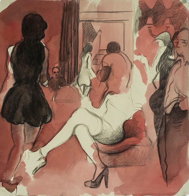 Marrakech Suite- Men and women, Monte Cristo, June 2016 Crayon and watercolour on paper. Simon Page