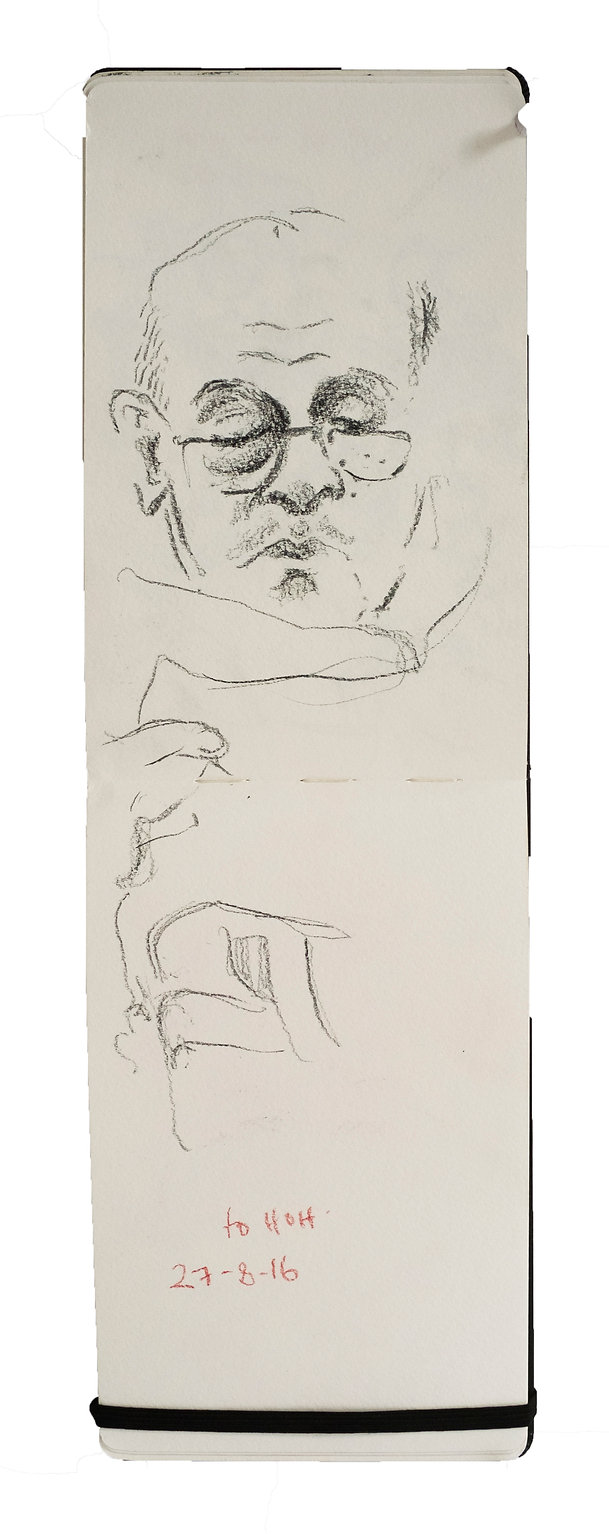 Tube Travellers- toHarrow on the Hill, 27-8-16. Crayon on paper. Simon Page