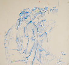 A Harrow Journey - Songs, 1965-70, in the back row, Speech Room, November 2014. Crayon on paper. Simon Page