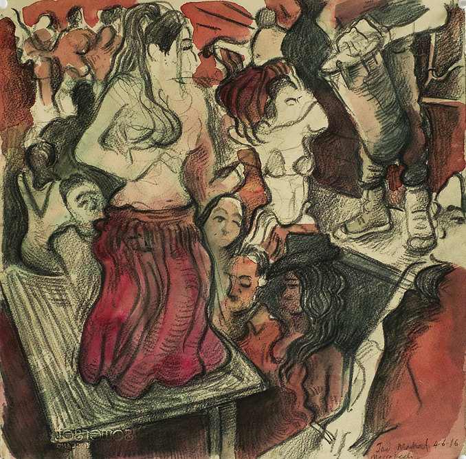 Marrakech Suite - The Belly Dance, Jad Mahal, 4-6-16 Crayon and watercolour on paper. Simon Page