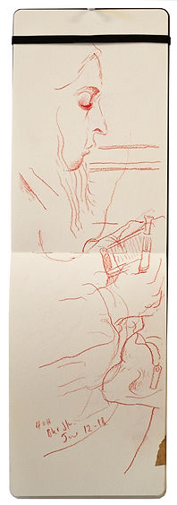 12-6-18 HOH - Bkr Street.Tube traveller drawing. Simon Page
