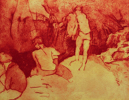 A Harrow Journey - Bathers , At the Plunge Pool, Villes Hautes. Solar Etching, 2011. Simon Page
