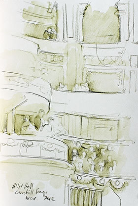 A Harrow Journey - Churchill Songs, The Albert Hall. Crayon and wash on paper. Simon Page