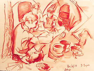 Altier cooking II, 30-6-12. Crayon and wash on paper. Simon Page
