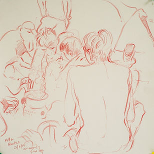 Nearly ready, mid evening, Grove Boys, Villes Hautes, 21-6-15. Crayon on paper. Simon Page.