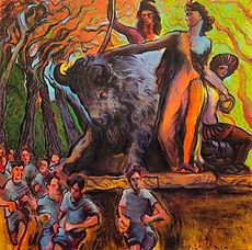 Momentum of History. Oil on canvas, 90cmx90cm. Simon Page