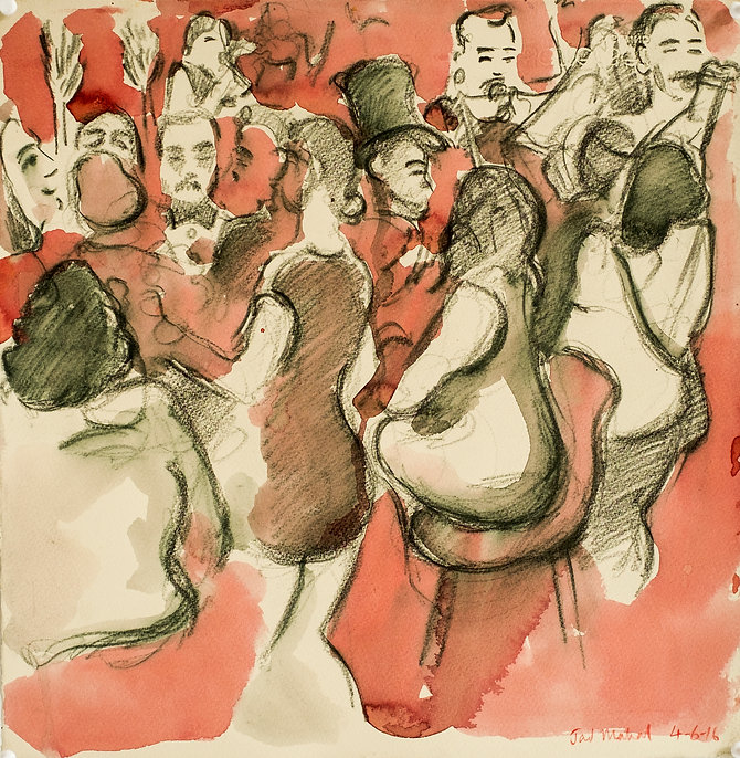 Marrakech Suite - Cabaret, Jad Mahal, 4-6-16 Crayon and watercolour on paper. Simon Page