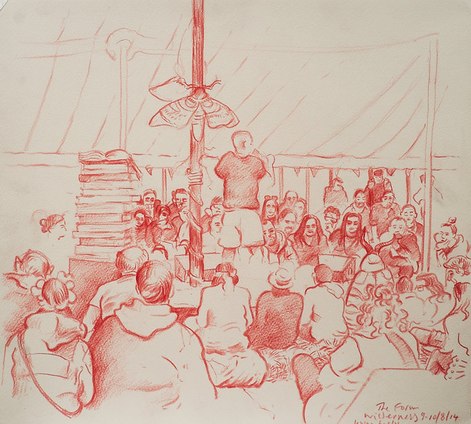 Festival drawings- Irving Welsh at The Forum, Cornbury Park, Wilderness Festival,10-8-14 Crayon and wash on paper. Simon Page