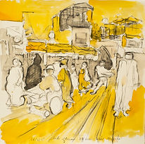 Marrakech Suite - Begging train, El Fnaa, 26-3-15 Crayon and watercolour on paper. Simon Page