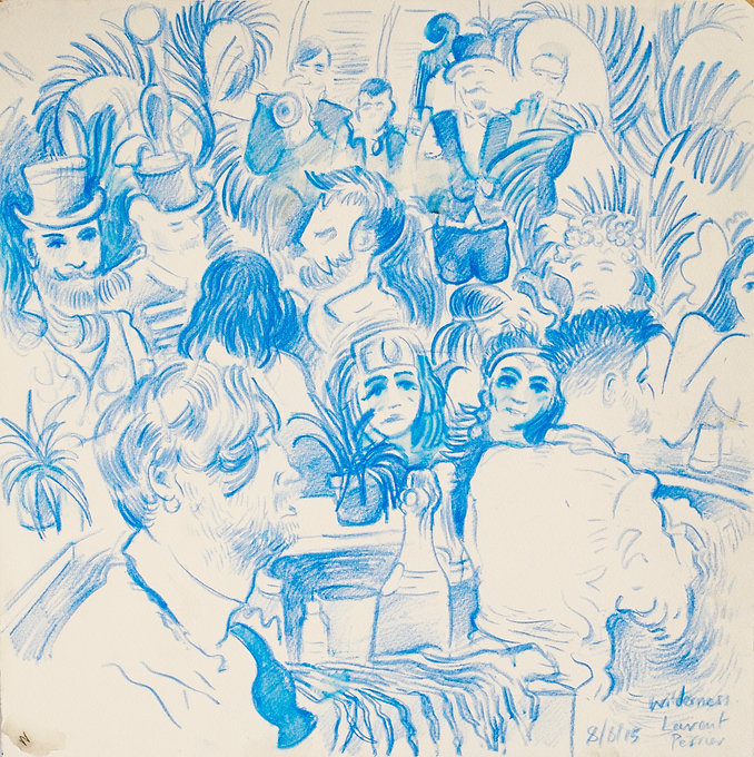 Festival drawings- The Laurent Perrier tent, Cornbury Park, Wilderness Festival, 8-8-15 Crayon and wash on paper. Simon Page