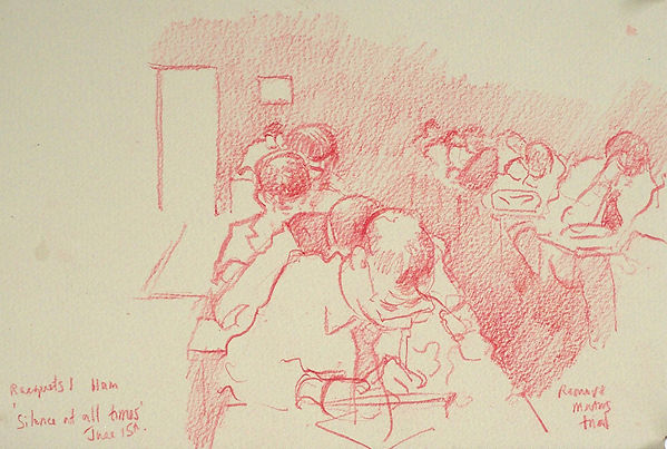A Harrow Journey - Silence at all Times, Racquets I, Remove Maths Trial, 15-6-15. Crayon on paper. Simon Page