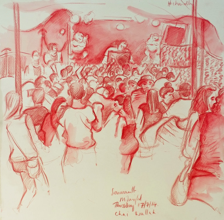 Festival drawings - Midnight at The Chai Wallah Tent, Somersault Festival, 17-7-14 Crayon and wash on paper. Simon Page