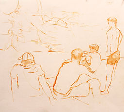 Plunge pool I, Ville Hautes 2011.Crayon on paper. Simon Page