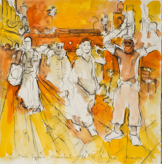 Marrakech Suite- Acrobats, El Fnaa, 26-3-15 Crayon and watercolour on paper. Simon Page