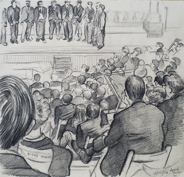 A Harrow Journey - Twelves in The Glees and Twelves, The Speech Room, Harrow School, 16-10-14. Crayon on paper. Simon Page