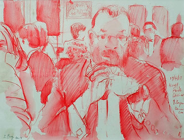 A Harrow Journey - Damian, Knolls Finds Dinner, 19-4-13. Crayon and wash on paper. Simon Page.