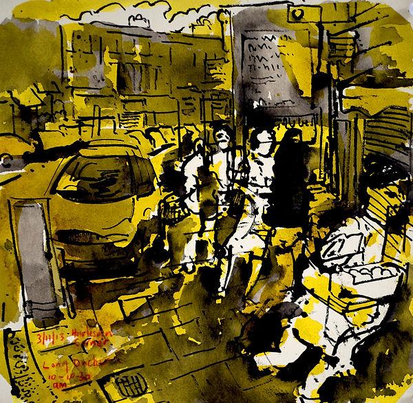 A Harrow Journey - Long Ducker, Harlesden Corner, 3-11-13. Ink on paper. Simon Page.