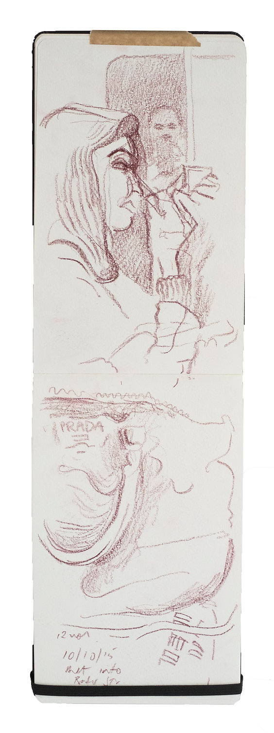 Tube Travellers- Harrow on the Hill to Baker Street, 10-10-16. Crayon on paper. Simon Page
