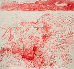 Tanera Mor, drawing IV, the Summer Isles. Crayon on paper, Simon Page, 2014