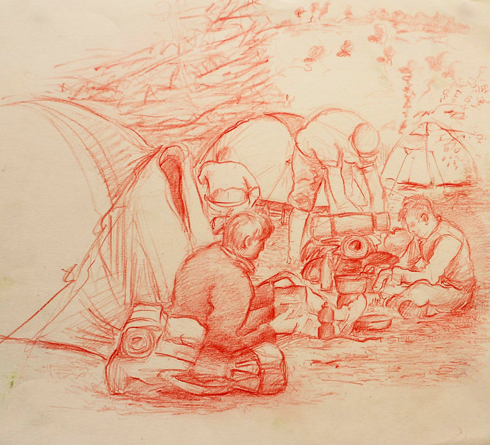 A Harrow Journey - Campsite breakfast, Villes Hautes, 2011. Crayon on paper. Simon Page
