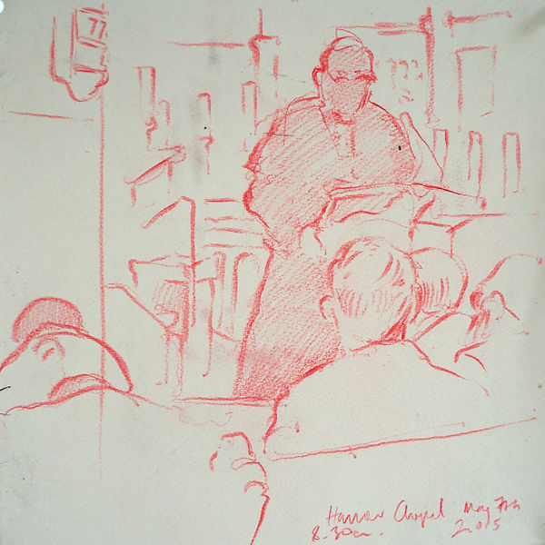 A Harrow Journey - The Sermon, Chapel. Crayon on paper. Simon Page