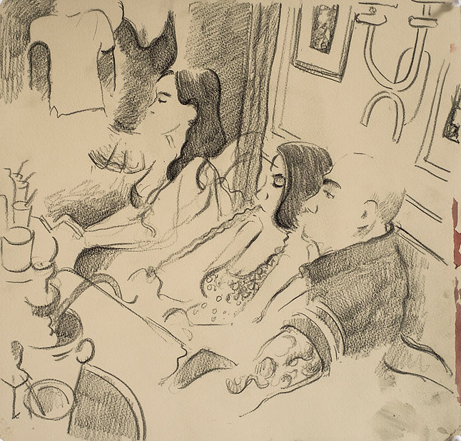 Marrakech Suite- Tattoos, smoking and watching:late evening in MonteCristo's, June 2016 Crayon and watercolour on paper. Simon Page