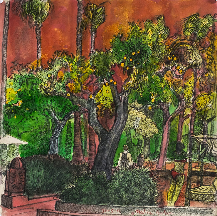 Marrakech Suite - Medina Gardens, 31-5-16 Crayon and watercolour on paper. Simon Page