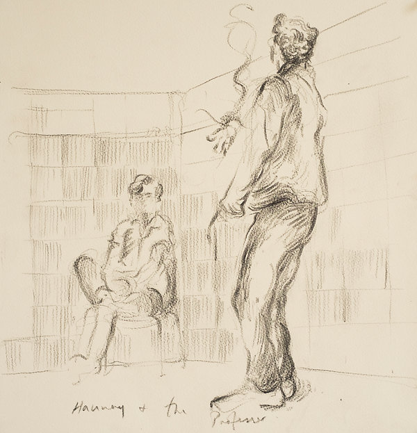 A Harrow Journey - 39 Steps,Hannay and the professor,,Rendalls House Play - rehearsal, January 2016 Crayon on paper. Simon Page