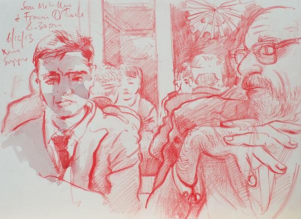 A Harrow Journey - Sean and Francis, Xmas Supper, Harrow, 6-12-13. Crayon on paper. Simon Page