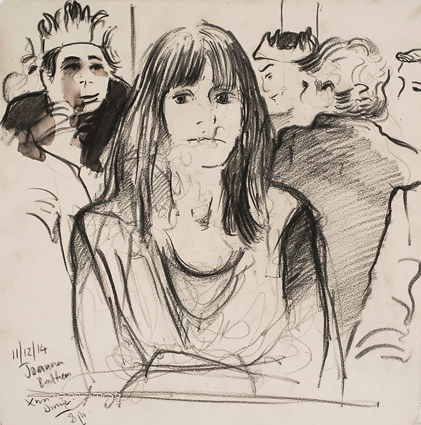 A Harrow Journey - Joanna, Xmas dinner, Druries, 11-12-14. Crayon and wash on paper. Simon Page