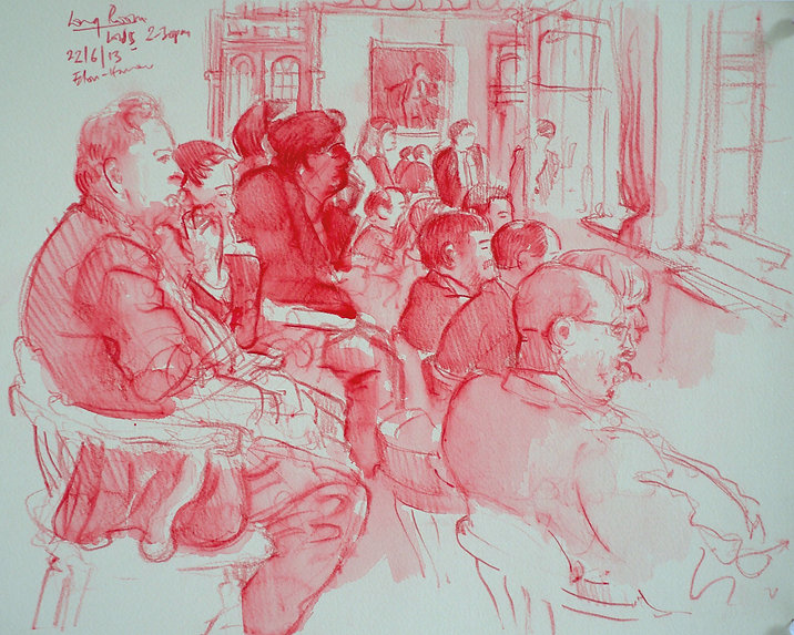 A Harrow Journey - The Long Room, Eton V Harrow, 22-6-13. Crayon and wash on paper. Simon Page