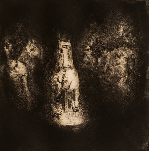Midsummer Night's Dream I , Rattigan Society production, December 2015. Drypoint Etching. Simon Page.