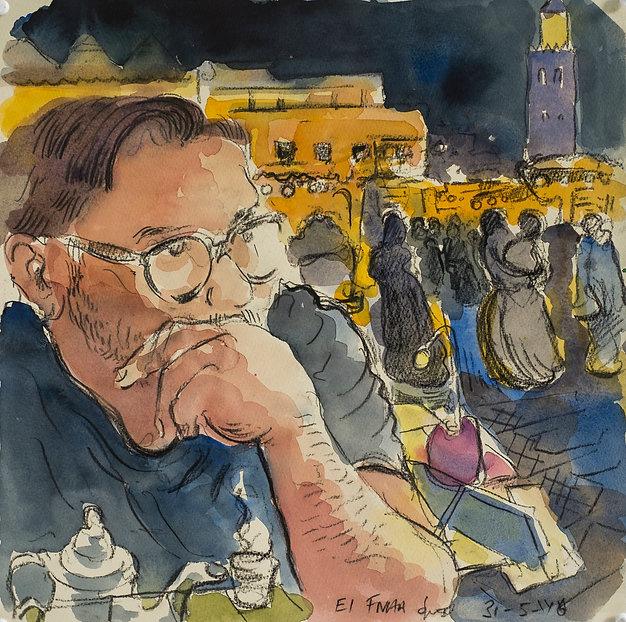 Marrakech Suite- Dan, drinking tea, El Fnaa, 31-5-16 Crayon and watercolour on paper. Simon Page