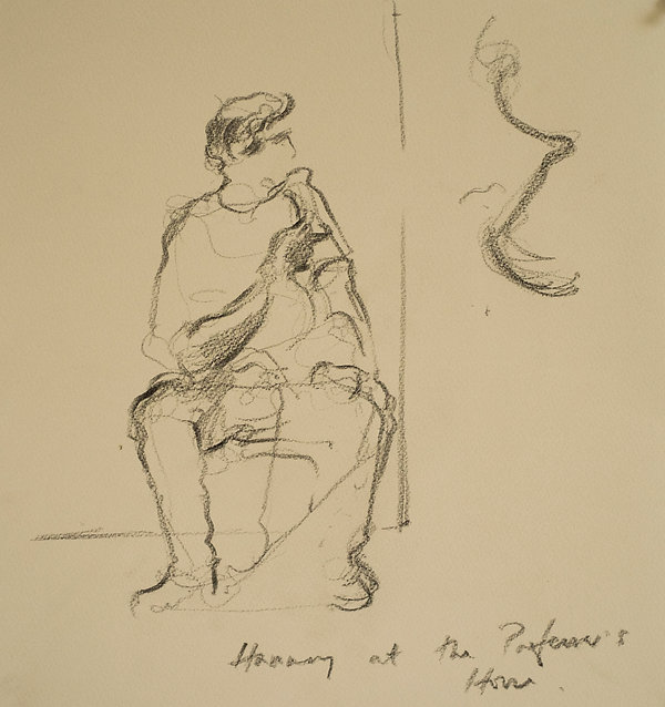 A Harrow Journey - 39 Steps,Hannay at the professors house, Rendalls House Play - rehearsal, January 2016 Crayon on paper. Simon Page