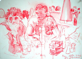 A Harrow Journey - Rory and Oliver, Prezzo. Crayon and wash on paper. Simon Page