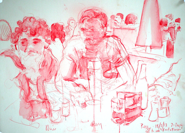 A Harrow Journey - Rory and Oliver, Prezzo, 8-3-13. Crayon and wash on paper. Simon Page