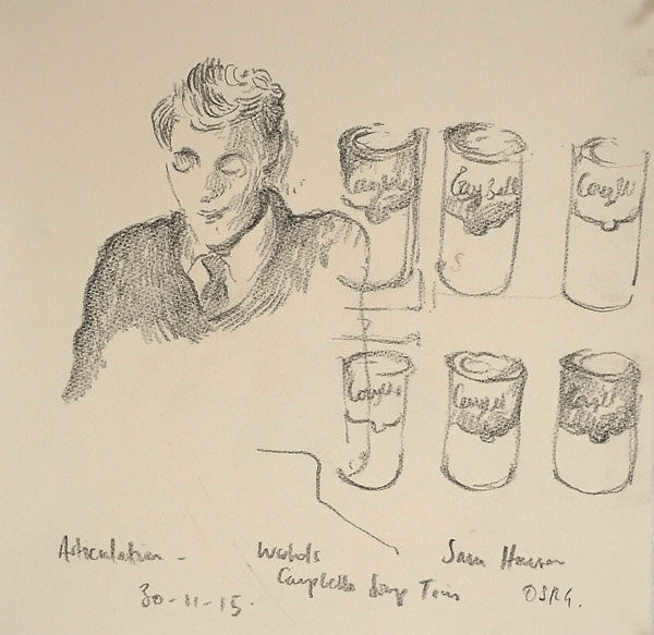 A Harrow Journey - Articulation Talks, Sam and Warhol's Soup Tins, OSRG, 30-11-15 Crayon on paper. Simon Page