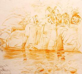 Plunge Pool II, Ville Hautes, 2011. Crayon on paper. Simon Page