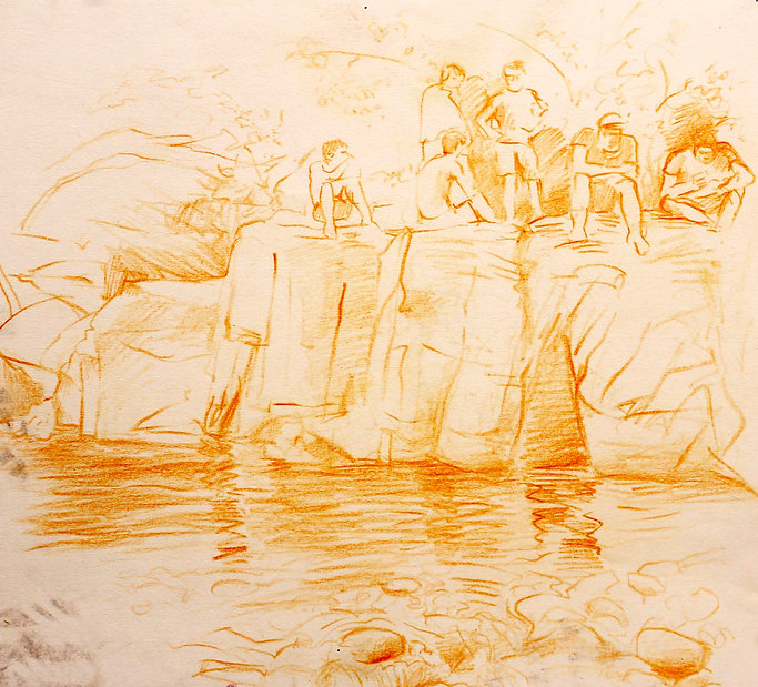 A Harrow Journey - Plunge Pool II, Ville Hautes, 2011. Crayon on paper. Simon Page